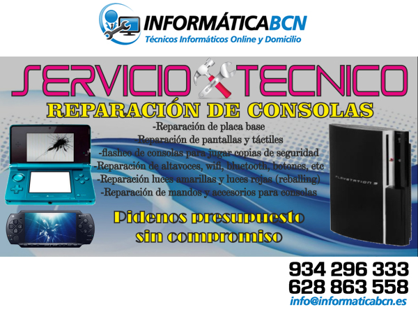 INFORMATICA BCN - Reparar o Modificar Consola en Barcelona